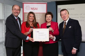 L-R: Maurice Buckley, chief executive, NSAI; Niamh Cray, HR manager; Margot Slattery, managing director; Minister Perry.