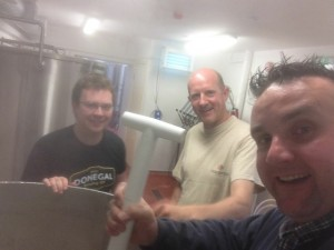 Early Morning Brew-day with Patrick Gallagher Donegal Brewing Co., Gordon Fallis, Inismacsaint Brewing Co., and Brendan O Reilly, Donegal Brewing Co.