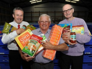 Tesco retail support director Ciaran Foley; regional vice president of St Vincent de Paul Brendan Dempsey; director of the Bia Food Initiative Eoin McCuirc.