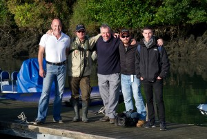 Keith Arthur, Tight Lines presenter (centre) with Kevin Murphy, Bella Vista Hotel, Cobh; Micheál Hennessy, Inland Fisheries Ireland; Jason O'Reilly, cameraman; and Jack Davies, assistant producer.