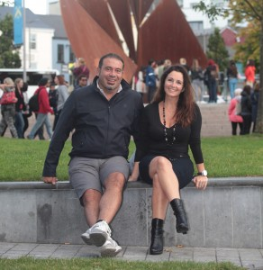 Cristina Cerrato Accommazo (right), with her friend Diego Previdi, in Eyre Square, Galway.