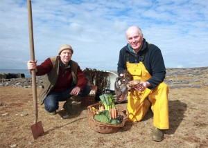 Jason Horner, organic vegetable farmer from Crusheen (Leen Organics) and Gerry Sweeney, Newquay fisherman and owner of Burren Seafoods.
