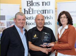 Pat Power of Dawn Meats accepting the Best in County Award.